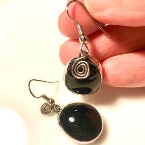 Vintage Black Glass Drop Earrings